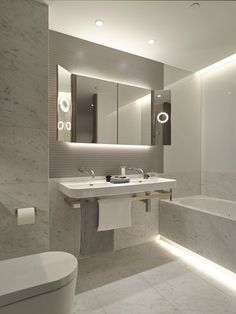 Cool White LED Strip Lights look fantastic in this modern bathroom!