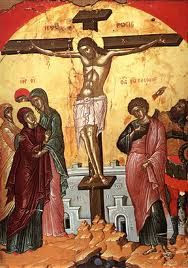 Orthodox icon of the Crucifixion of our Lord Jesus Christ, by Theophanis the Cretan Stavronikita Monastery, Mount Athos Noli Me Tangere, Byzantine Art, Byzantine Icons, Religious Icons, Religious Art, Marie Madeleine, Crucifixion Of Jesus, School Icon, Jesus Christ Images