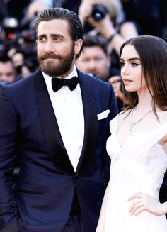 Jake Gyllenhaal and Lily Collins attend the 'Okja' screening during the 70th annual Cannes Film Festival at Palais des Festivals on May 19, 2017 in Cannes, France.