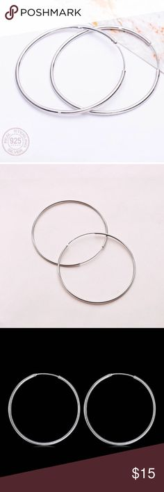 SILVER HOOP EARRINGS BRAND NEW! 100% good quality ✔️925 sterling silver ✔️925 stamped  ✔️Finish: Mirror Polish ✔️5cm DYOSARA Jewelry Earrings