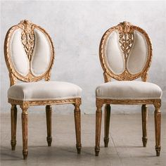 Eloquence One of a Kind Vintage Sidechair Louis XV Carved Set of 2 found on Layla Grayce #laylagrayce #gold #dining