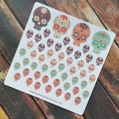 New to OnePunkyMamaDesign on Etsy: More Sugar Skull Stickers for Erin Condren or Plum Paper Día de Muertos (ID363) (4.50 USD)