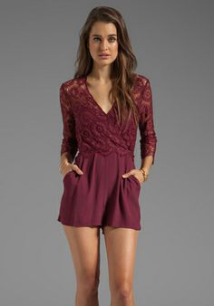 DV by DOLCE VITA Pissaro Daisy Lace Romper in Raspberry - Hong Kong $132