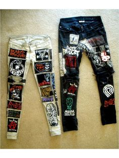 i will make you your own personal punk jeans. Also if theres any you have that you would like to send me to put on your jeans let me know. Outfit Jeans, Diy Clothing, Custom Clothes, Rock Clothing, Punk Jeans, Estilo Punk Rock, Mode Punk, Patch Pants, Crust Punk