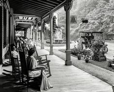 """Circa 1905. """"Front piazza of Kittatinny House, Delaware Water Gap, Pennsylvania."""" An up-to-date inn catering to the automobilist with such a..."""