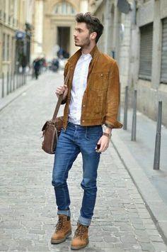 Estilo Masculino, Roupa de Homem. Macho Moda - Blog de Moda Masculina: Combinar CORES de ROUPAS MASCULINAS: Azul com Tons Terrosos, como usar? Bolsa Masculina