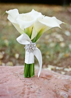 White Calla Lilly bouquet and brooch