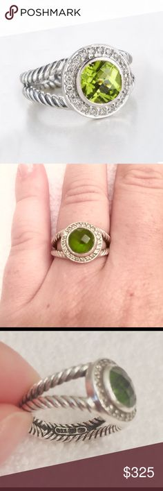 David Yurman Peridot Ring Sterling Silver Petite Albion Split Shank Ring with Round Peridot and Pave Diamonds - excellent pre-loved condition, no scratches. Purchased from Nordstrom with DY engraved inside band. Gorgeous ring that needs to be shown off  Does not come with original bag. David Yurman Jewelry Rings