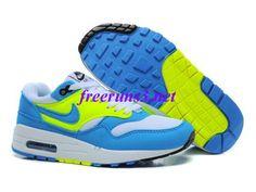 0XG135 Womens Nike Air Max 1 Blue Glow Volt White Shoes