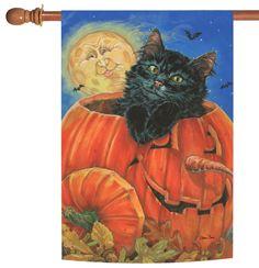 NEW Toland - Meow-lo-Ween - Kitty Cat Pumpkin Full Moon Halloween House Flag #TolandHomeGarden