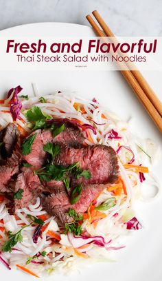Fresh and Flavorful Thai Steak Salad with Noodles Easy Chinese Recipes, Asian Recipes, Beef Recipes, Healthy Recipes, Thai Steak Salad, Slow Cooked Beef, Beef Dishes, International Recipes, Salads