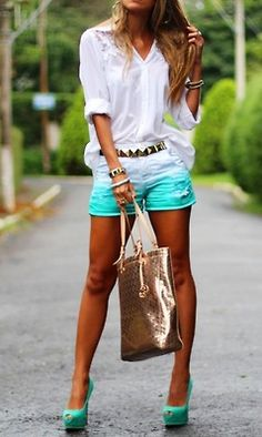 ombre shorts and white...great against her tan #outfit #summer