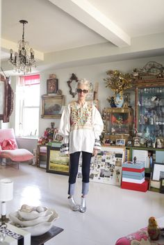 """Silver-Foxy Linda Rodin's NYC Apartment #refinery29  http://www.refinery29.com/linda-rodin-my-style#slide-22  Where are some of your favorite places in New York to hang out?  """"The dog park on West 22nd Street, drinks at the Mercer Hotel, the flea markets, and most of all, my own home. I'm a true homebody. I'd rather be home than anywhere else."""" ..."""