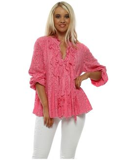 Stylish pink lace blouses available online now at Designer Desirables. Browse more Made in Italy now and enjoy free UK standard delivery on all orders Going Out Tops, Pink Lace, Trendy Outfits, Blouses For Women, Tunic Tops, Italy, Stylish, Womens Fashion, Clothes