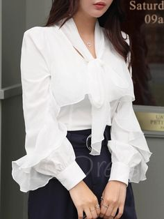 Tbdress.com offers high quality Falbala Patchwork Single-Breasted Women's Blouse Blouses unit price of $ 25.99.