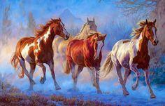 Fuerza, poder, energía, velocidad y belleza, es lo que contienen las preciosas pinturas de caballos elaboradas por Bonnie Marris , pint...