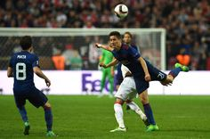 Manchester United's Spanish midfielder Ander Herrera heads the ball during the UEFA Europa League final football match Ajax Amsterdam v Manchester...