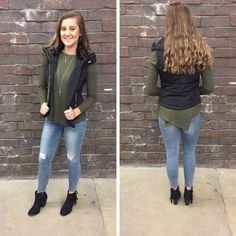Fall is for layering! Vest - $38 Olive top - $25 #newarrival #fall #fallfashion #obsessed #aldm #apricotlanedesmoines #apricotlane #valleywestmall #boutique #shoplocal #musthave #apricotlaneboutique #shopaldm #ootd