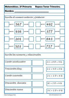 Fichas con ejercicios de matemáticas segundo primaria Vamos a repasar matemáticas en segundode primaria para niños de 6-7 y 8años Mathematics, Periodic Table, Classroom, Education, Gaucho, Gabriel, Activities, To Tell, Paper