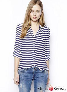 Blue Stripe Leisure time Cotton Shirt