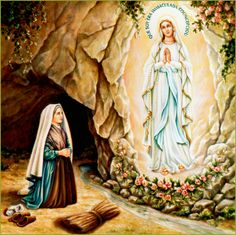 Illustration of Our Lady of Lourdes from a calendar