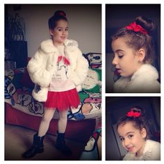 #SnowQueen, #Frozen inspired. Red, white and a furry blazer...Lovely Girl!