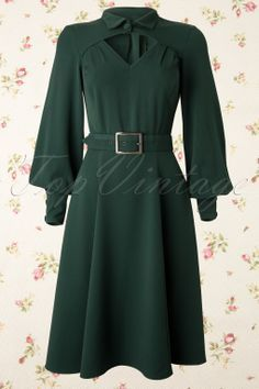 Miss Candyfloss - TopVintage exclusive ~ 40s Babette Diamond Swing Dress in Forest Green #topvintage