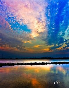 Blue Pink Clouds Reflection Lake Landscape Vertical Panorama Art Prints by Eszra Tanner