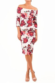 Black Pink Rose Spring// Summer Bodycon Pencil Cocktail Wiggle Dress