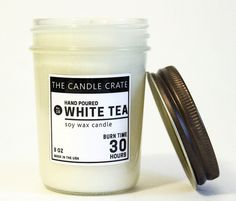White Tea 8 Ounce Soy Wax Container Jar Candle Hand Poured Eco Friendly Highly Scented