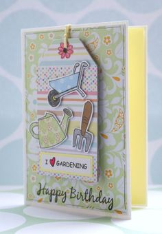 Love Gardening  Happy Birthday Card with by CraftyMushroomCards, £3.75