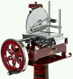 """Saw an old Berkel Model """"B"""" deli slicer like this, on American Restorations. Just thinking about the sandwiches these could make! Watch your fingers! Restaurant Design, Restaurant Bar, Meat Recipes, Wine Recipes, American Restoration, Italian Meats, Italian Deli, Vintage Italian, Meat Slicers"""