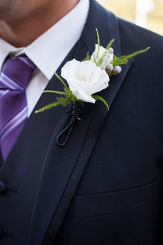 Grooms boutonniere gardenia and greens #white #wedding