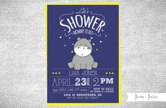 Sweet and simple, cute baby hippo Baby Shower invitation! You choose the colors! Party invitations are the perfect way to set the right tone for your special celebration. - - - - - - - - - - - - - - - - - - - - - - - - - - - - - - - - - - - - - -  INFORMATION ABOUT THIS PURCHASE:  You are purchasing a DIGITAL FILE that you can print at home or your local print shop (Costco, Walmart, Walgreens, Kinkos, etc). You can also use this file to email friends and family or post on social media…