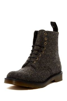 "Beckett Tweed Boot in stone by Dr. Martens $290 - $119 @HauteLook. - Round toe - Harris Tweed construction - Lace-up - Pull tab at back - AirWair sole technology - Dust bag included - Approx. 7"" shaft height - Manmade upper and sole"