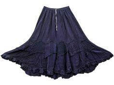 Amazon.com: Gypsy Skirt Dark Blue Patch Stonewashed Rayon Hippie Boho Maxi Skirt: Clothing