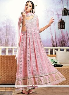 Baby Pink Shaded Georgette And Chiffon Anarkali Suit