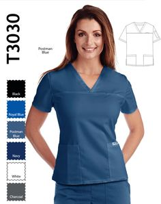 V-neck Scrub Top for Ladies has two patch pockets that have inner sectional pockets, two small side slits and a shoulder pen pocket. White Charcoal, Scrub Tops, Navy And White, Scrubs, Stretches, Long Sleeve Tees, V Neck, Lady, How To Wear