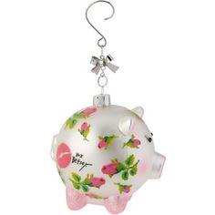 Betsey Johnson Pink Roses Pig Ornament