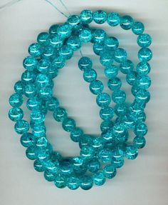 8mm Turquoise Blue Crackle Glass Round Beads Long by RockNBeads, $4.00 #pcfteam