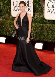 Elegant Black Mermaid Trumpet Cut Out Beading Satin Allison Williams Golden Globe Dress. See More Golden Globe Dresses at http://www.ourgreatshop.com/Golden-Globe-Dresses-C903.aspx