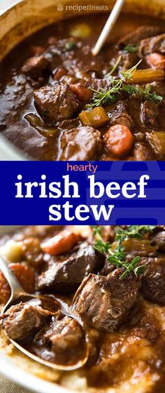 A hearty stew with Guinness Beer that gives the sauce an incredible rich, deep flavour, and the beef is fall-apart tender. A hearty stew with Guinness Beer that gives the sauce an incredible rich, deep flavour, and the beef is fall-apart tender. Best Beef Recipes, Beef Recipes For Dinner, Irish Recipes, Meat Recipes, Cooker Recipes, Healthy Recipes, Salad Recipes, Chicken Recipes, Shrimp Recipes