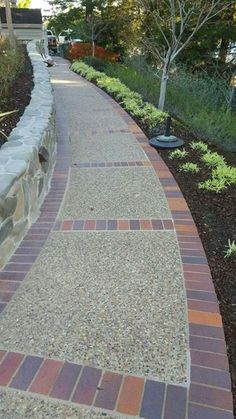 20+ Popular Garden Path And Walkway Ideas To Your Outdoor ... #garden #gardenideas Concrete Patios, Concrete Walkway, Brick Patios, Concrete Patio Designs, Brick Driveway, Driveway Design, Walkway Designs, Walkway Ideas, Driveway Ideas
