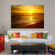 Large Wall Art Canvas Print Sunrise over Sea with Beach