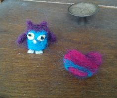 2nd felting efforts, owl and heart