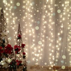 White lights and tulle for a soft Christmas backdrop - cant wait to use this!