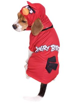 $16.48 - Angry Birds Red Bird Pet Halloween Costume sz Large People will think the popular red bird from Angry Birds has suddenly come to life when they see your pooch in this entertaining ensemble! The Red Angry Birds Costume for Pets is a fun piece that features a bodysuit with a red angry bird printed on the fabric. There is an open area for the ears, so your pup can still interact and feel uninhibited. The bird's tail feathers are connected t...
