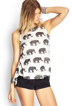 Vented-Back Elephant Top | FOREVER21 - 2000119754