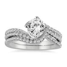 For Gift 1 3/8 Ct D/VVS1 Round Diamond Bridal Engagement Ring Set 14k White Gold #Jewelsbyeanda