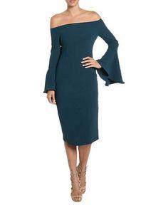 Bardot Solange Off-the-Shoulder Dress Women's Teal Large